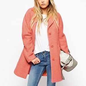 Pink ASOS Textured Wool Coat